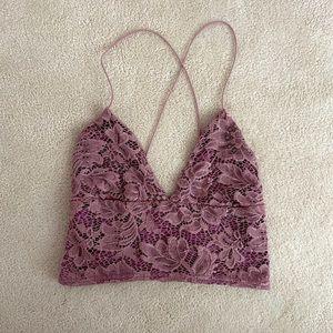 UO Lace Purple Crop Top